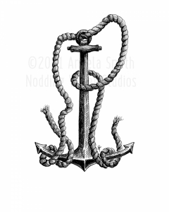 Fouled - A pen and ink drawing of an anchor tangled with rope.