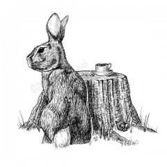 A Guest For Tea -A black and white ink drawing. A New England cottontail bunny is seen from behind, looking to his left. He sits beside a stump, where his cup of tea is steeping. In a crook of the roots, a single violet grows.