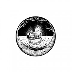 December Portal - A black and white ink drawing. Birch branches wreath a circular portal through which is seen a stack of winter-themed books and reading glasses, a plate of cookies, and a starry mug of hot chocolate piled high with whipped cream and a cherry before a wintry night sky. These treats sit atop a lace doily on an even more starry table cloth.