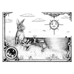 Divine Picnic - A black and white ink drawing. A horizontal rectangular frame encases the scene of a rabbit, crowned, sitting up among a hillside of clover and dandelions. On a stump before her is a full goblet, and a cake. Puffy clouds float over an ocean, with a single tiny sailing ship on the horizon. The frame is inset with jewels, and a smaller corner frame with a scene of night-blooming morning glories under stars and a crescent moon. A compass-like sun pendant hangs from a corner of the frame, as if it is the sun within the scene. A few dandelions and clover escape the frame at the corners.