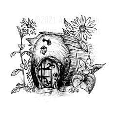 Fairy Door - A pen and ink drawing of an ornate-hinged fairy door set into the end of a stump, surrounded by black eyed susans and a violet.