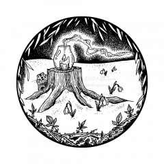 February Portal - A black and white ink drawing. Within a circle, willow branches and bare blackberry canes form a frame, through which is seen a pillar candle in hurricane glass sitting atop a stump. At its feet, snowdrops peek through a blanket of snow, and from behind, a groundhog peeks.