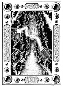 Garden of the Sea Witch - A black and white ink drawing. Neatly planted rows of seaweed are seen in deep perspective from the dark sea floor, as a mermaid swims downward with webbed hands and flowing hair. The scene is hemmed with a drawn jeweled frame, studded with gems and panels of coral.