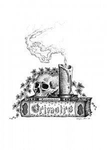Grimoire - A black and white ink drawing.  A jawless skull and melting lit candle sit atop a slim herbiary and a thick bound grimoire. Ivy drapes over all.