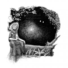 A Hallowed Tea - A black and white ink drawing. Beside a lily- and fern-fringed fallen log, a woman sits atop a stump in a high-necked gown, holding a cup of tea. But something isn't quite right. The steam from her cup and the reaching spruce and ash branches frame the black forest behind her. A point of light in the distance is reflected in a pair of bright eyes in the shadows. Her long braid pools in her lap, and her eyes reflect the forest: black and empty.