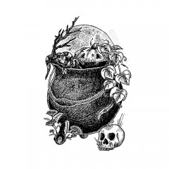 Hallowe'en Cauldron - A black and white ink drawing. A cast iron clawfoot cauldron overflows with elements of All Hallow's Eve: a snake nestles alongside a wide-smiled vining jack-o-lantern and reaching black branch, with a full moon rising behind.  At the cauldron's feet, sprigs of yarrow grow, and a jawless skull waits patiently.