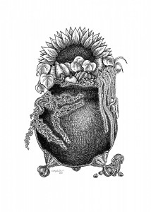 Harvest Cauldron - A black and white ink drawing. A cast iron claw-foot cauldron overflows with autumnal flora: ivy, love-lies-bleeding, pumpkin, apples, acorn and butternut squashes. A large sunflower rises like a sun behind. A squirrel peeks around one foot with scattered acorns.