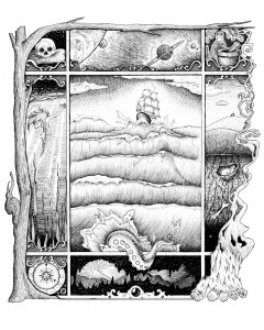Lore - A black and white ink drawing. A panel of nine portals, framed by a reaching leafless tree, and a camp fire with curling smoke. The large rectangular central portal features a nautical scene, of a clipper cresting chaotic waves above the shadow of a looming whale, and a breaching tentacle, escaping the frame. Surrounding are smaller portals, clockwise from top left: a skull rests on its cushion; a cluster of planets float in space; an herbalist's shelf with mortar, herbs and potion; a bucolic hillside beneath which is a bunny sleeping in its warren, and roots reaching toward long buried treasures; a campfire obscures the corner; a high door in the wall of a deep cave casts light far into the hollow darkness; a celestial clock shows high tea time; and a mermaid emerges from seaweed depths to reach for the starry surface.