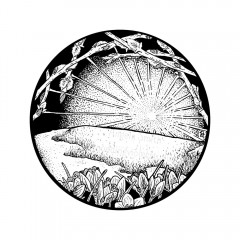 March Portal - A black and white ink drawing. Within a circle, new crocuses and reaching pussy willow branches in bud frame a thawing hillside and dawning sun.