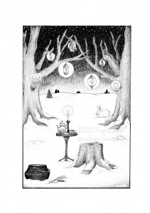 Midwinter Tea - A black and white ink drawing. Magical lantern-hung trees surround a wrought iron table and stump, set for tea. The tree lanterns cast halos in the dark night sky, and snow blankets the ground into the distance. On the table, a holly-painted teapot and single cup are lit by a solitary candle stick. Nearby await a cast iron vessel, curved sickle, and bundle of herbs. From behind a tree, a snow white rabbit ventures forth.