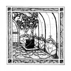 Peach Witch - A black and white ink drawing. A square frame, inset with jewels and panels depicting branches in different stages of growth, frames a scene of a greenhouse interior. A small fruiting peach tree grows from a large cauldron set in the corner of a flagstone floor. Behind it soars the wall of curving glass panels, with stained glass decoration at the bottom. Just visible is the mullion-paned  door in its arched frame.