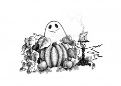 Spook Friend - A black and white ink drawing of a smiling ghostie peeking from behind a vining pumpkin and a couple of apples. Next to him is a candle stick with a skull and burning candle.
