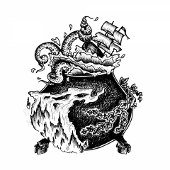 The Story Witch's Cauldron - A black and white ink drawing of a hoof-footed cauldron surrounded by ivy and flame. From its rim splashes the tentacles of a sea monster, one of which wraps around the bowsprit of a tall ship cresting a dangerous wave.