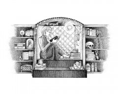 Wizard's Nook - A black and white ink drawing.  A wizard is curled up with a book in a mullioned window seat, lit by an orb of werelight.  Her feet rest against a stack of books, on top of which sits a slice of cake on a plate, missing one bite.  A pothos vine curls from a wall vase to arch the window seat. On the steps up to her seat are more books, a starry mug, and a large pillar candle on a tray with crystal points.  Her staff, tipped with another crystal points, leans against one of the pair of bookshelves that flank her nook. These shelves are crowded with tomes and instruments, taxidermy, potion bottles, bones and a small locked chest.