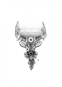 Yule Stag - A black and white ink drawing. A bust portrait of a six-point red deer, collared in a wreath of holly tied with a satin bow.  Ivy coils up his antlers, and a single star shines above his brow like a horned god.